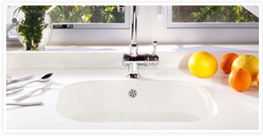 White quartz surface sinks
