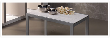 White quartz surface Vimens tables